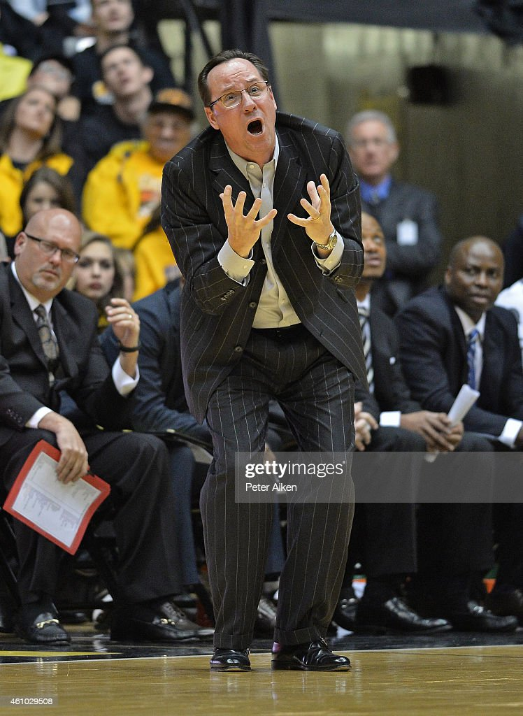 Head coach <a gi-track='captionPersonalityLinkClicked' href=/galleries/search?phrase=Gregg+Marshall&family=editorial&specificpeople=623591 ng-click='$event.stopPropagation()'>Gregg Marshall</a> of the Wichita State Shockers reacts to a call against the Shockers during the first half against the Illinois State Redbirds on January 4, 2015 at Charles Koch Arena in Wichita, Kansas. Wichita State defeated Illinois State 70-62.
