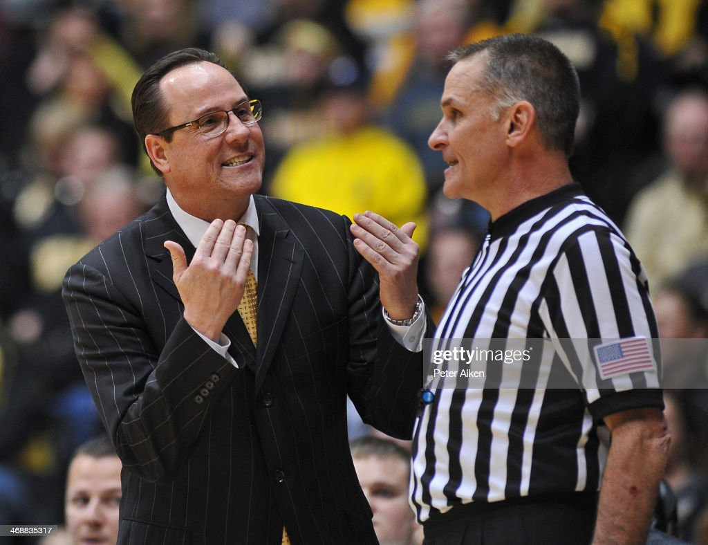 Head coach Gregg Marshall of the Wichita State Shockers reacts to an official's call during the second half against the Southern Illinois Salukis on February 11, 2014 at Charles Koch Arena in Wichita, Kansas. Wichita State won 78-67.