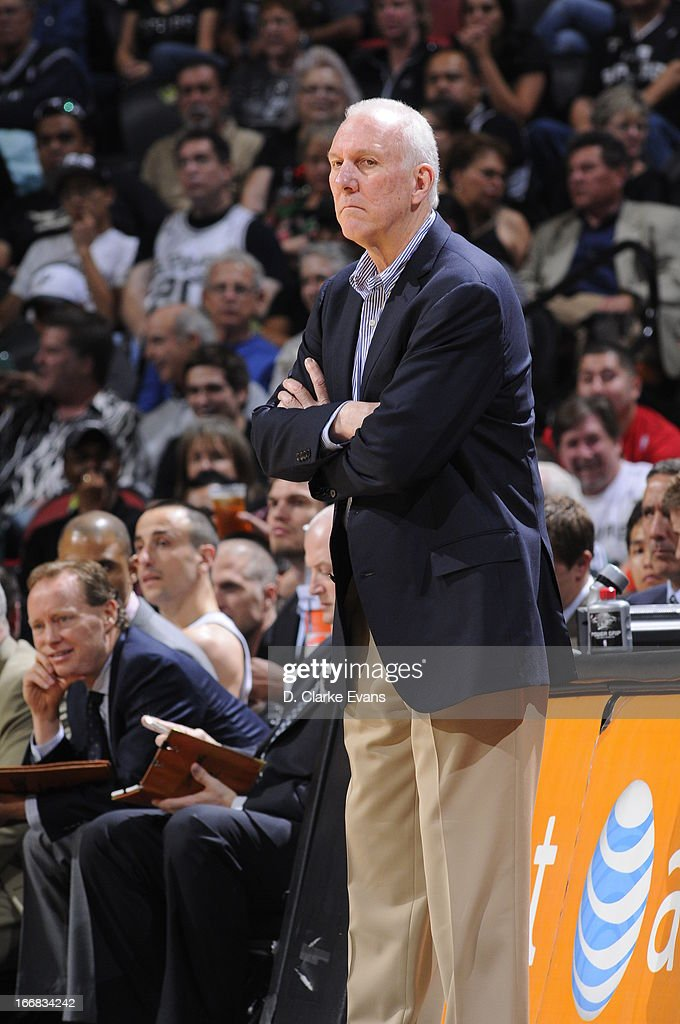 Head Coach Gregg Popovich of the San Antonio Spurs against the Minnesota Timberwolves on April 17, 2013 at the AT&T Center in San Antonio, Texas.