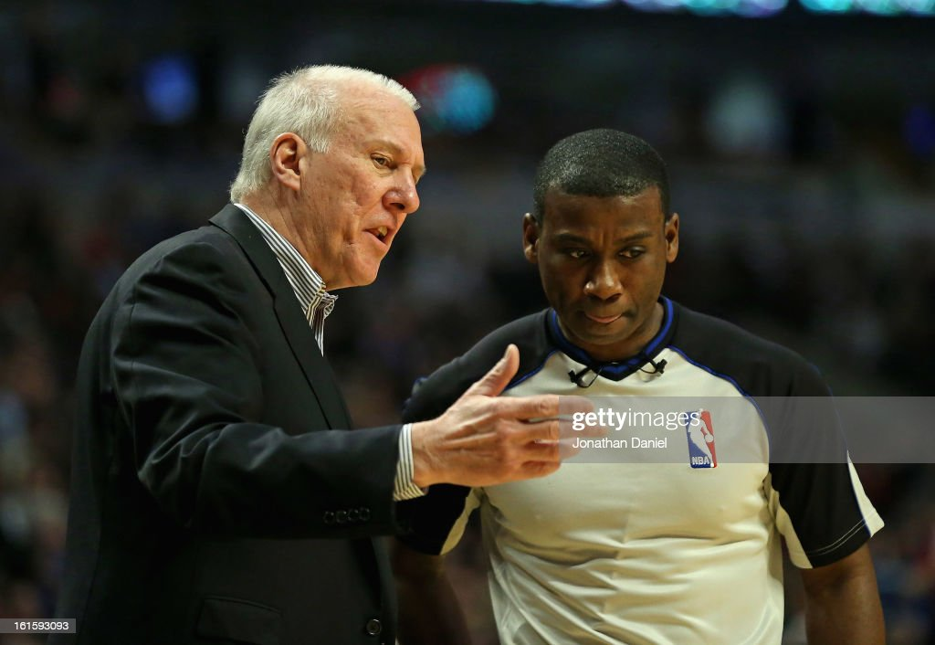 Head coach Gregg Popovich of the San Antonio Spurs argues with referee James Williams #60 during a game against the Chicago Bulls at the United Center on February 11, 2013 in Chicago, Illinois. The Spurs defeated the Bulls 103-89.