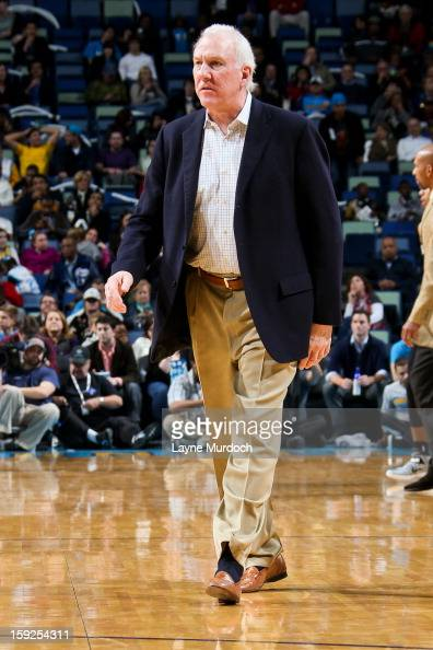 Head Coach Gregg Popovich of the San Antonio Spurs calls a timeout during a game against the New Orleans Hornets on January 7 2013 at the New Orleans...