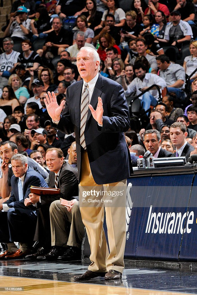 Head Coach Gregg Popovich of the San Antonio Spurs directs his team against the Utah Jazz on March 22, 2013 at the AT&T Center in San Antonio, Texas. The team's victory resulted in Popovich's 900th career win.