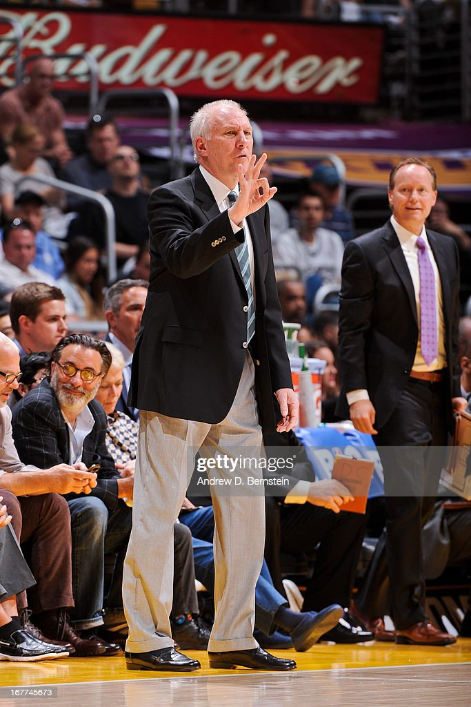 Head Coach Gregg Popovich of the San Antonio Spurs directs his team against the Los Angeles Lakers in Game Four of the Western Conference Quarterfinals during the 2013 NBA Playoffs at Staples Center on April 28, 2013 in Los Angeles, California.