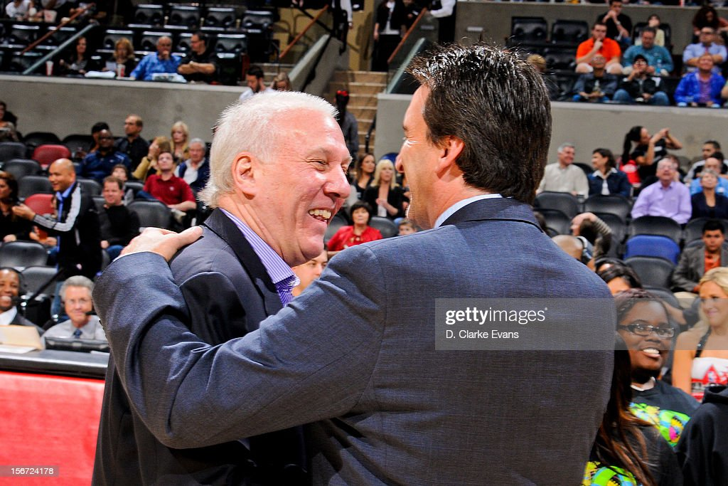 Head Coach Gregg Popovich of the San Antonio Spurs greets Head Coach Vinny Del Negro of the Los Angeles Clippers before their game on November 19, 2012 at the AT&T Center in San Antonio, Texas.