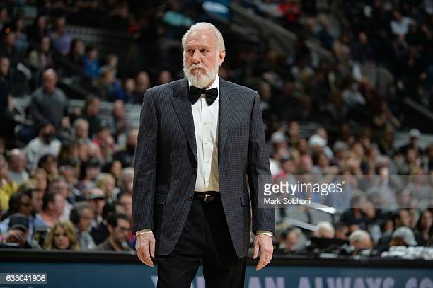 Head Coach Gregg Popovich of the San Antonio Spurs is seen during the game against the Dallas Mavericks on January 29 2017 at the ATT Center in San...