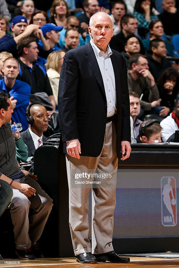 Head Coach Gregg Popovich of the San Antonio Spurs looks on as his team plays the Minnesota Timberwolves on February 6, 2013 at Target Center in Minneapolis, Minnesota.