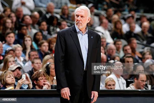 Head Coach Gregg Popovich of the San Antonio Spurs looks on during the game against the Atlanta Hawks on November 28 2015 at the ATT Center in San...