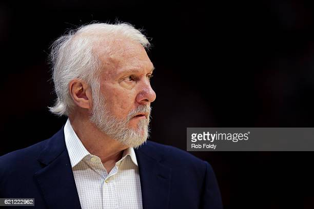 Head Coach Gregg Popovich of the San Antonio Spurs looks on during the game against the Miami Heat at American Airlines Arena on October 30 2016 in...