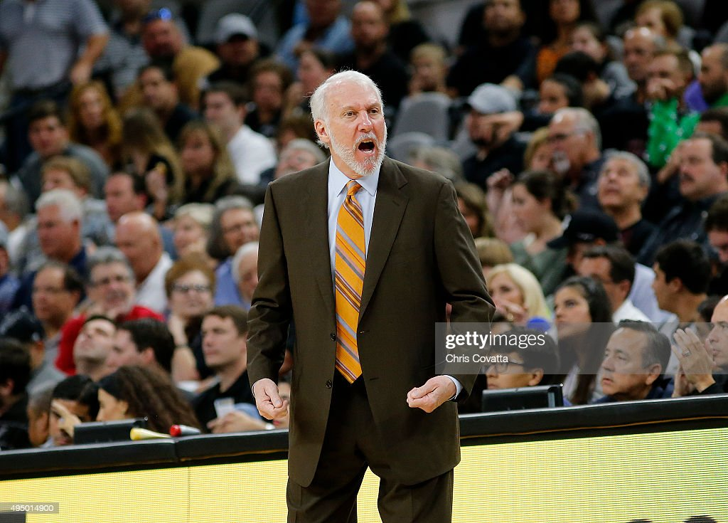 Head coach Gregg Popovich of the San Antonio Spurs reacts as his team plays the Brooklyn Nets at the AT&T Center on October 30, 2015 in San Antonio, Texas.