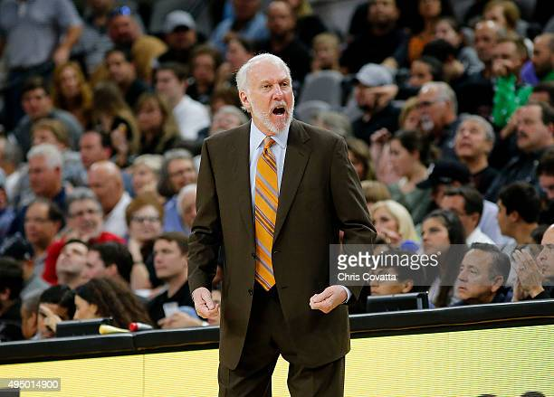 Head coach Gregg Popovich of the San Antonio Spurs reacts as his team plays the Brooklyn Nets at the ATT Center on October 30 2015 in San Antonio...