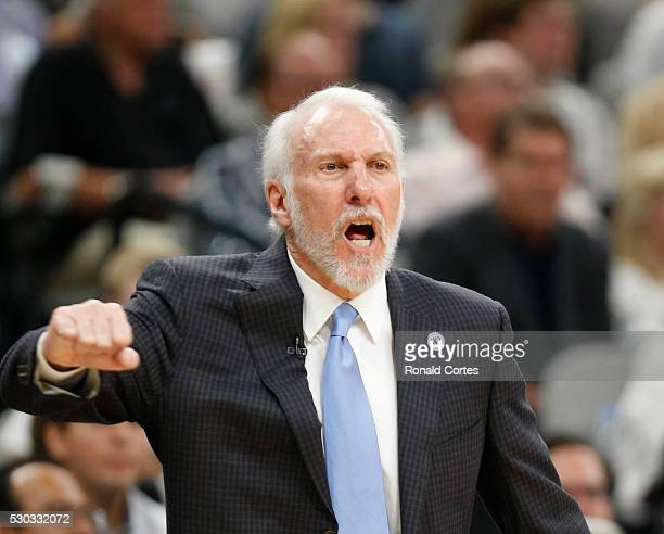 Head coach Gregg Popovich of the San Antonio Spurs reacts during game against the Oklahoma City in game Five of the Western Conference Semifinals...