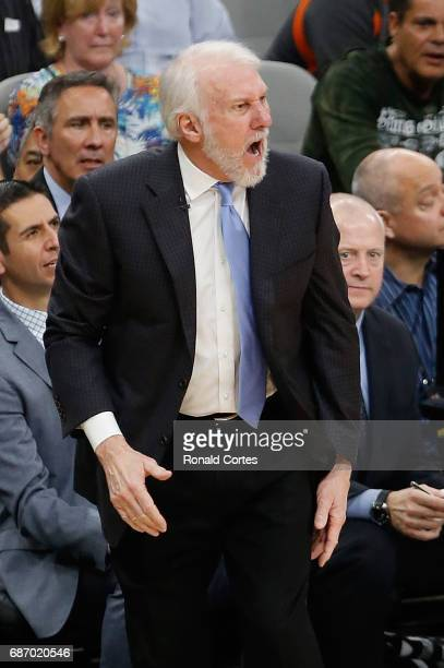 Head coach Gregg Popovich of the San Antonio Spurs reacts in the second half against the Golden State Warriors during Game Four of the 2017 NBA...