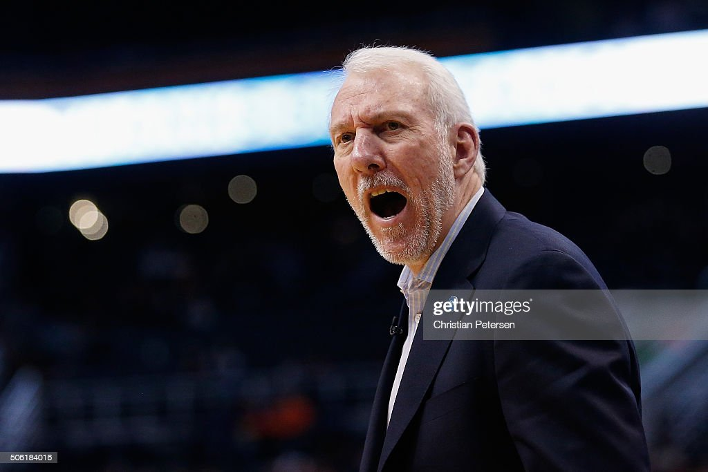 Head coach <a gi-track='captionPersonalityLinkClicked' href=/galleries/search?phrase=Gregg+Popovich&family=editorial&specificpeople=202904 ng-click='$event.stopPropagation()'>Gregg Popovich</a> of the San Antonio Spurs reacts on the bench during the second half of the NBA game against the Phoenix Suns at Talking Stick Resort Arena on January 21, 2016 in Phoenix, Arizona.