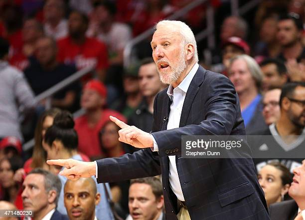 Head coach Gregg Popovich of the San Antonio Spurs signals against the Los Angeles Clippers during Game Five of the Western Conference quarterfinals...