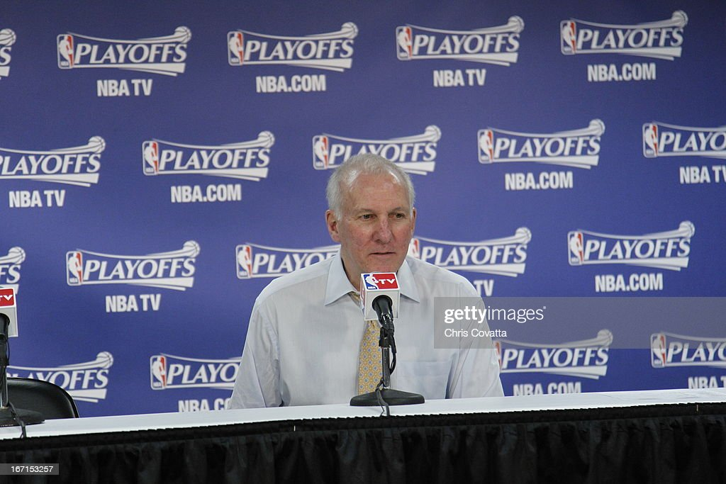 Head Coach Gregg Popovich of the San Antonio Spurs speaks during a press conference after winning during the Game One of the Western Conference Quarterfinals between the Los Angeles Lakers and the San Antonio Spurs on April 21, 2013 at the AT&T Center in San Antonio, Texas.
