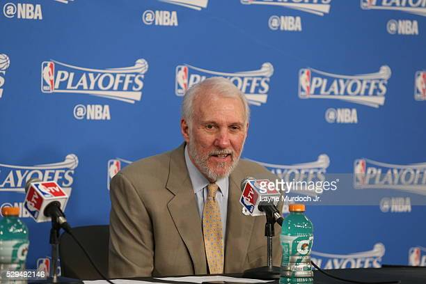 Head Coach Gregg Popovich of the San Antonio Spurs speaks to the media after Game Four of the Western Conference Semifinals against the Oklahoma City...