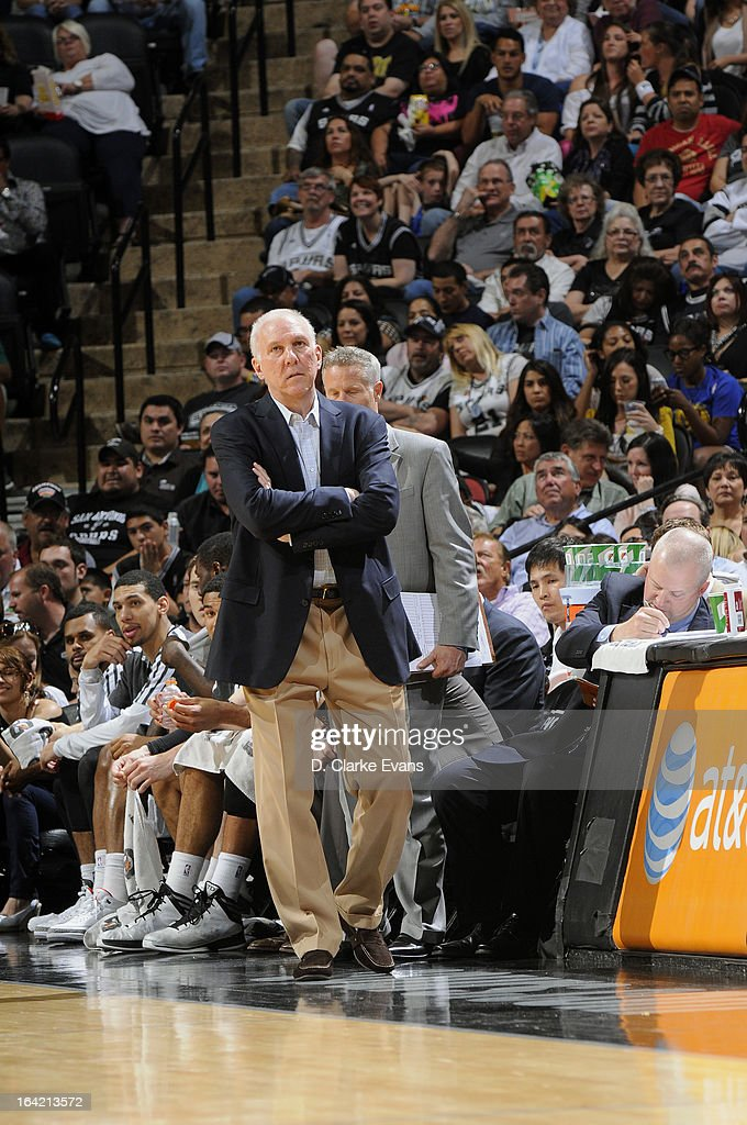 Head Coach Gregg Popovich of the San Antonio Spurs walks along the sidelines during the game against the Golden State Warriors on March 20, 2013 at the AT&T Center in San Antonio, Texas.