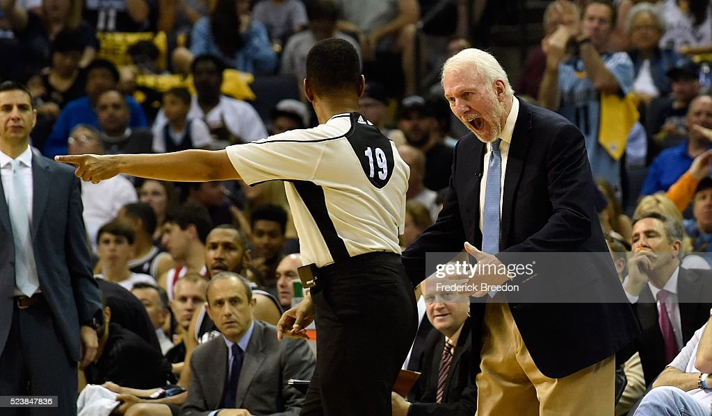 Head coach <a gi-track='captionPersonalityLinkClicked' href=/galleries/search?phrase=Gregg+Popovich&family=editorial&specificpeople=202904 ng-click='$event.stopPropagation()'>Gregg Popovich</a> of the San Antonio Spurs yells at an official during the first half of Game Four against the Memphis Grizzlies of the First Round of the NBA Playoffs at FedExForum on April 24, 2016 in Memphis, Tennessee.