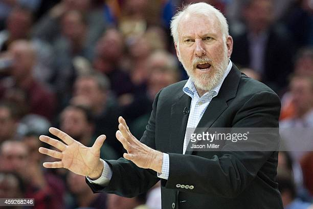 Head coach Gregg Popovich of the San Antonio Spurs yells to his players during the second half against the Cleveland Cavaliers at Quicken Loans Arena...
