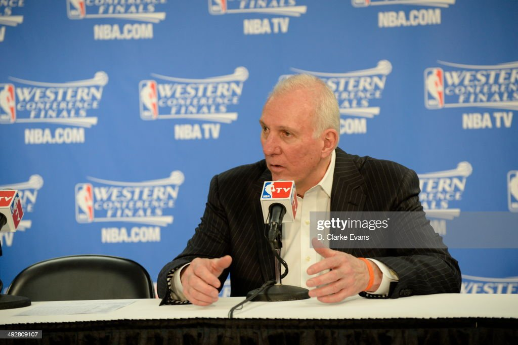 Head Coach <a gi-track='captionPersonalityLinkClicked' href=/galleries/search?phrase=Gregg+Popovich&family=editorial&specificpeople=202904 ng-click='$event.stopPropagation()'>Gregg Popovich</a> of the The San Antonio Spurs speaks with the media after the game against The Oklahoma City Thunder in Game Two of the Western Conference Finals during the 2014 NBA Playoffs on May 21, 2014 at the AT&T Center in San Antonio, Texas.
