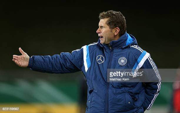 Head coach Guido Streichsbier of Germany gestures during the U20 international friendly match between Germany and Poland at Westsachsenstadion on...