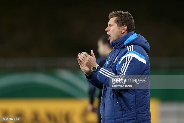 Head coach Guido Streichsbier of Germany gestures during the U20 international friendly match between Germany and Poland at Stadion Zwickau on...