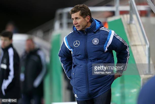 Head coach Guido Streichsbier of Germany looks on during the U20 international friendly match between Germany and Poland at Stadion Zwickau on...