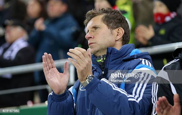 Head coach Guido Streichsbier of Germany looks on prior to the U20 international friendly match between Germany and Poland at Stadion Zwickau on...