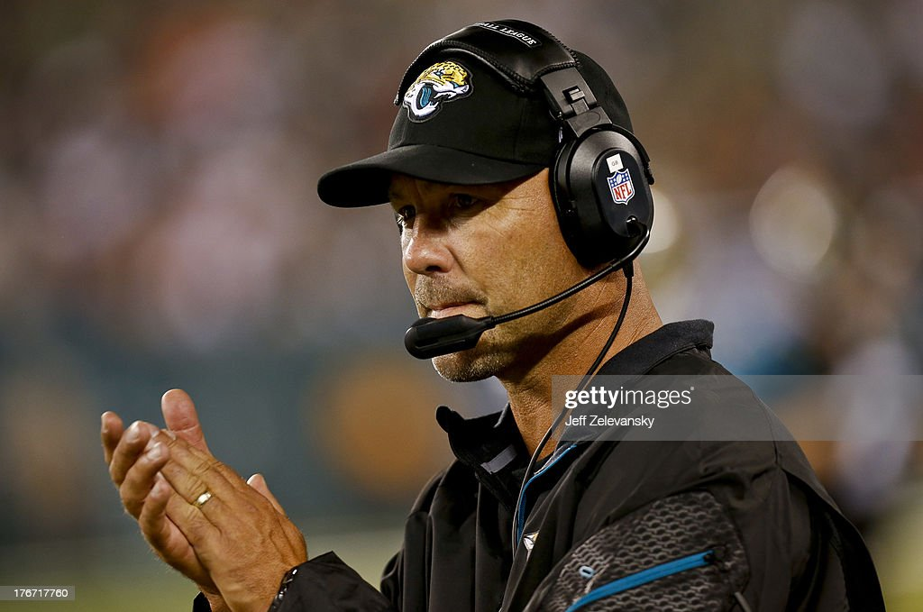Head coach Gus Bradley of the Jacksonville Jaguars during their preseason game at MetLife Stadium on August 17, 2013 in East Rutherford, New Jersey.