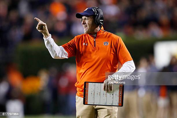 Head coach Gus Malzahn of the Auburn Tigers reacts after a touchdown against the Arkansas Razorbacks in the third quarter of the game at JordanHare...