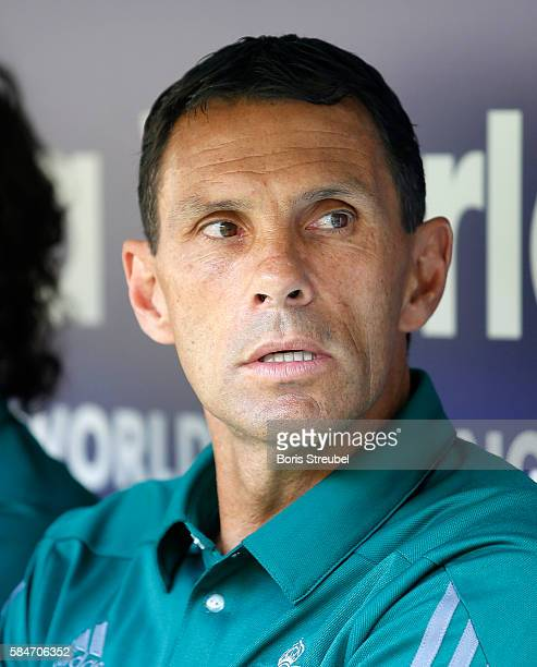 Head coach Gustavo Poyet of Real Betis looks on prior to the Bundeswehr Karriere Cup Dresden 2016 match between FC Everton and Real Betis at...