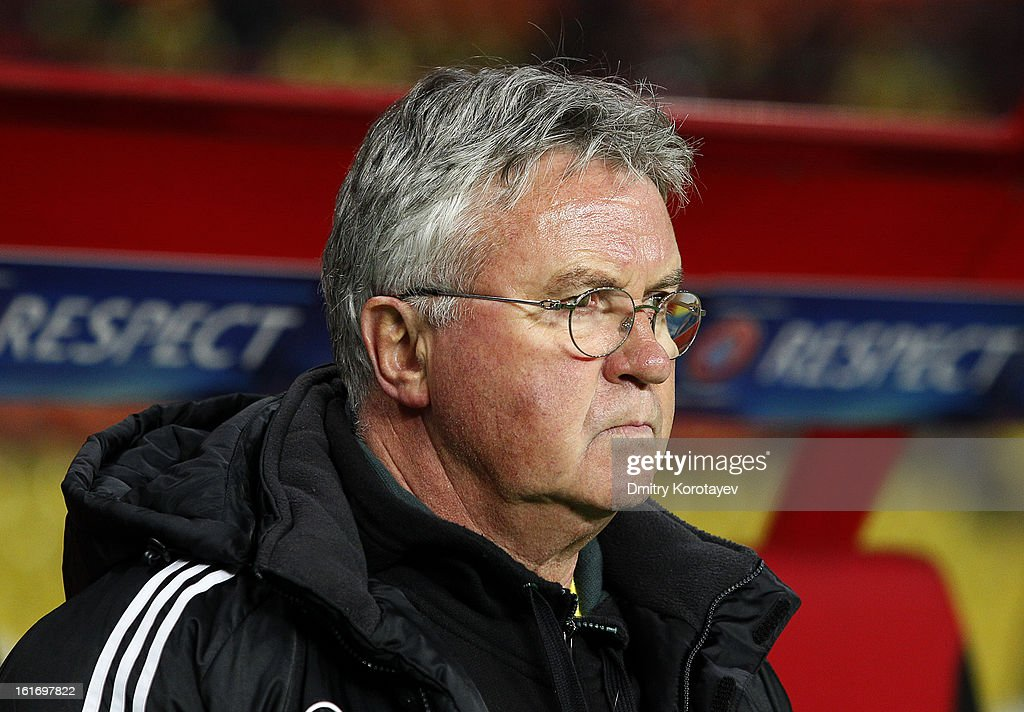 Head coach Guus Hiddink of FC Anji Makhachkala looks on during the UEFA Europa League Round of 32 first leg match between FC Anji Makhachkala and Hannover 96 at the Luzhniki Stadium on February 14, 2013 in Moscow, Russia.