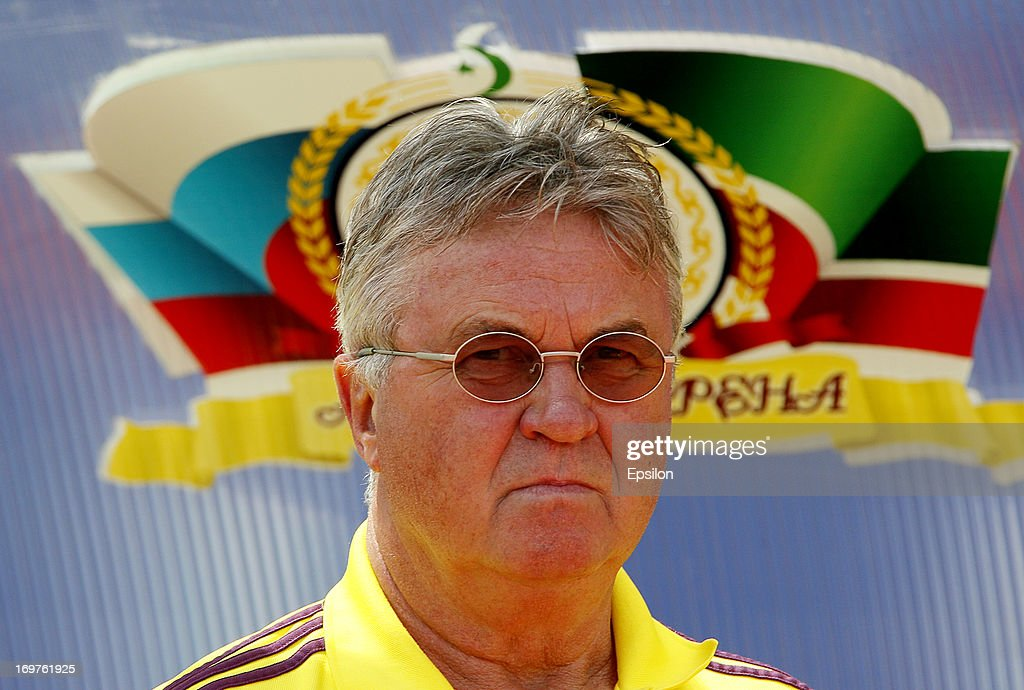Head coach Guus Hiddink of FC Anzhi Makhachkala looks on during the Russian Cup Final match between FC Anji Makhachkala and PFC CSKA Moscow at the...