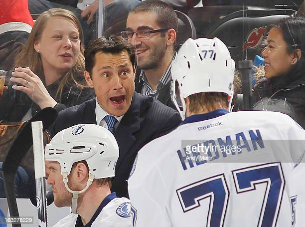 Head coach Guy Boucher of the Tampa Bay Lightning gives instructions against the New Jersey Devils during the game at the Prudential Center on March...