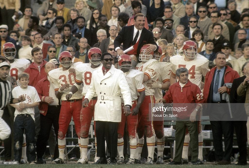 Head Coach Hank Stram of the Kansas City Chiefs is lifted up on the shoulders of his players after the Kansas City Chiefs defeated the Oakland Raiders in AFL Championship Game on January 4, 1970 at the Oakland Coliseum in Oakland, California. The Chiefs won the game 17-7. Stram coached the Dallas Texans/Kansas City Chiefs from 1960-74.
