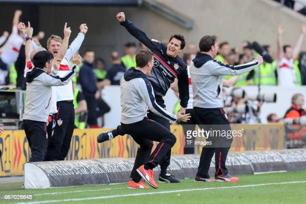 Head coach Hannes Wolf celebrate a goal during the Second Bundesliga match between VfB Stuttgart and Karlsruher SC at MercedesBenz Arena on April 9...