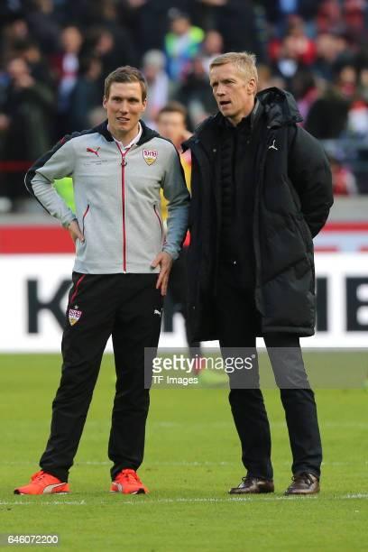 Head coach Hannes Wolf of Stuttgart and Jan Schindelmeiser of Stuttgart looks on after the Second Bundesliga match between VfB Stuttgart and 1 FC...