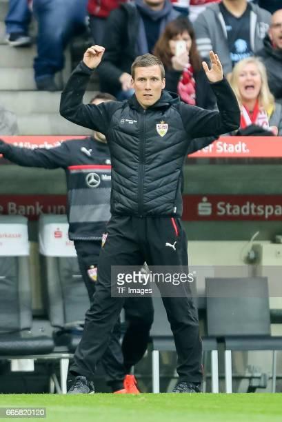 Head coach Hannes Wolf of Stuttgart gestures during the Second Bundesliga match between TSV 1860 Muenchen and VfB Stuttgart at Allianz Arena on April...