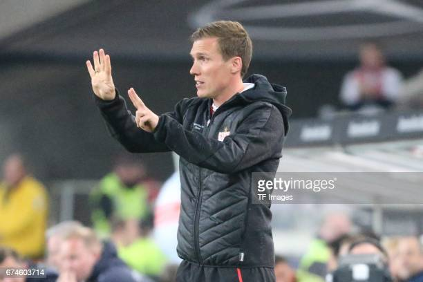 Head coach Hannes Wolf of Stuttgart gestures during the Second Bundesliga match between VfB Stuttgart and 1 FC Union Berlin at MercedesBenz Arena on...