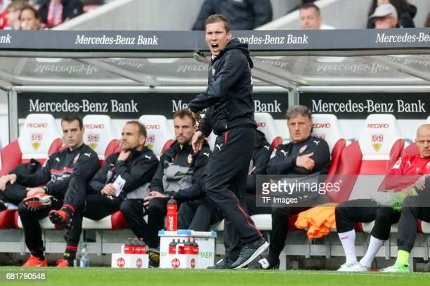 Head coach Hannes Wolf of Stuttgart gestures during the Second Bundesliga match between VfB Stuttgart and FC Erzgebirge Aue at MercedesBenz Arena on...