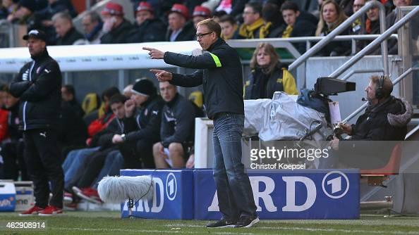 Head coach HansPeter Schubert of Aachen issues instructions during the Regionalliga West match between Alemannia Aachen and RotWeiss Essen at Tivoli...
