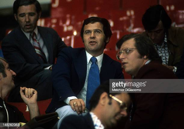 Head coach Harry Sinden of Canada watches the Soviets practice before Game 1 of the 1972 Summit Series on September 1 1972 at the Montreal Forum in...
