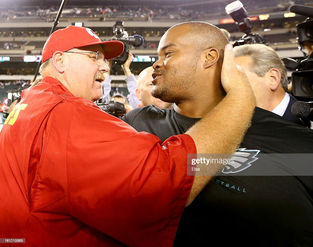 Head coach head coach Andy Reid of the Kansas City Chiefs greets Duce Staley of the Philadelphia Eagles after the game on September 19, 2013 at Lincoln Financial Field in Philadelphia, Pennslyvania. The Kansas City Chiefs defeated the Philadelphia Eagles 26-16.