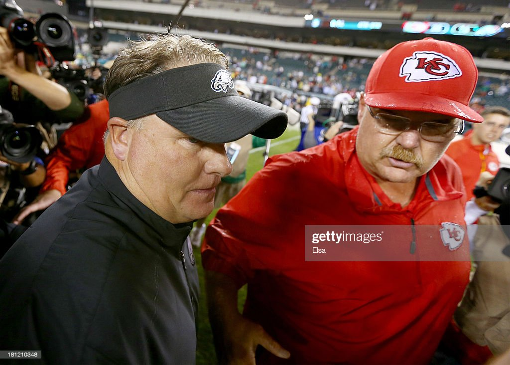 Head coach head coach Andy Reid of the Kansas City Chiefs greets head coach Chip Kelly of the Philadelphia Eagles after the game on September 19, 2013 at Lincoln Financial Field in Philadelphia, Pennslyvania. The Kansas City Chiefs defeated the Philadelphia Eagles 26-16.
