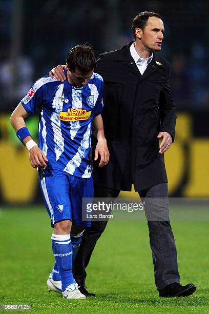 Head coach Heiko Herrlich of Bochum looks dejected next to Philipp Boenig after losing the Bundesliga match between VfL Bochum and VfB Stuttgart at...