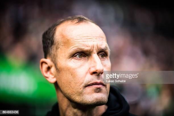 Head Coach Heiko Herrlich of Leverkusen arrives prior to the Bundesliga match between Borussia Moenchengladbach and Bayer 04 Leverkusen at...