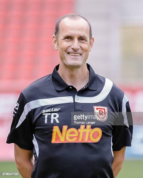 Head coach Heiko Herrlich poses during the SSV Jahn Regensburg team presentation at Continental Arena on July 15 2016 in Regensburg Germany