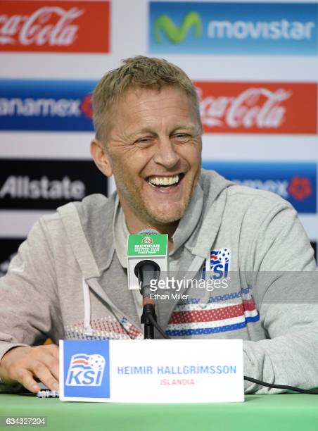 Head coach Heimir Hallgrimsson of Iceland laughs during a news conference after his team's 10 loss to Mexico in their exhibition match at Sam Boyd...