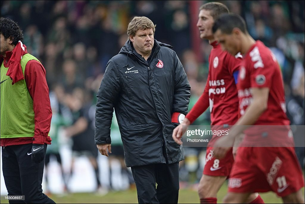 Head coach Hein Vanhaezebrouck of KV Kortrijk looks dejected on the final whistle after the defeat during the Cofidis Cup semi-final match between KV Kortrijk and Cercle Brugge in the Guldensporen stadium on March 03, 2013 in Kortrijk, Belgium.