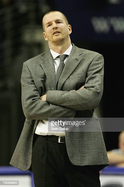 Head coach Henrik Roedl of Alba Berlin reacts to play during the 1Bundesliga game between Alba Berlin and Bayer Giants Leverkusen in the Max...